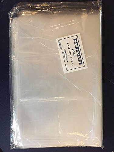 "Plastic Bags Clear - Plastic Poly Bag Crystal Clear 9 "" X 12 "", Flat, Open, Clear, 1 Mil, Plastic Bag Measures 9"" X 12"" - Pack of 100, Qty of 100 Crystal Clear Shiny Finish Polyethylene Bags, Plastic Bags - Meets FDA & USDA Specifications for Food Contact, 100% Virgin High Clarity Polyethylene Film, Acid-Free, Archival Safe"