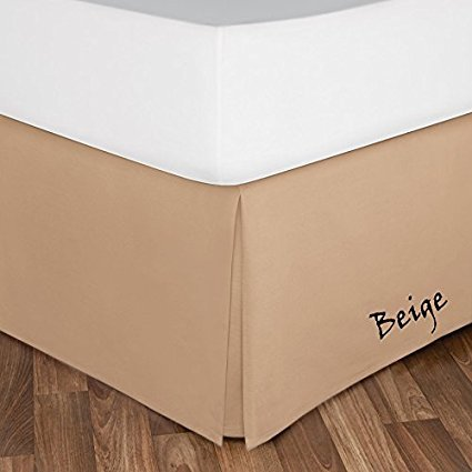 400 Thread Count Best Seller Split Cornor Tailored Egyptian Cotton 1-PC Bed Skirt ( Color - Beige ), SOLID Pattern with 10