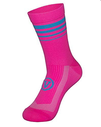 Men's athletic Socks Built for Cycling & Running or training| Fast Drying | Breathable Mid-compression (Large, Pink)