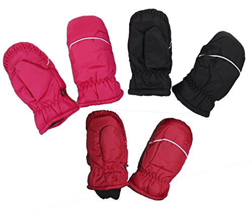 GILBIN'S Kids Winter Warm Thinsulate And Quilted Breathable Ski Mittens, Black/Red/Fuschia, Size 4-6Y (Quilted Mittens)