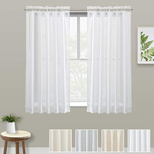 XWTEX Tier Curtains for Kitchen Linen Like Cafe Curtains Privacy Semi Sheer Half Window Curtains for Living Room, 2 Panels, 45 Inches Long, White (Inch Sheer 45 Curtains)