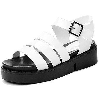 LvYuan Mujer-Tacón Plano-Otro-Sandalias-Oficina y Trabajo Vestido Informal-Semicuero-Negro Blanco White