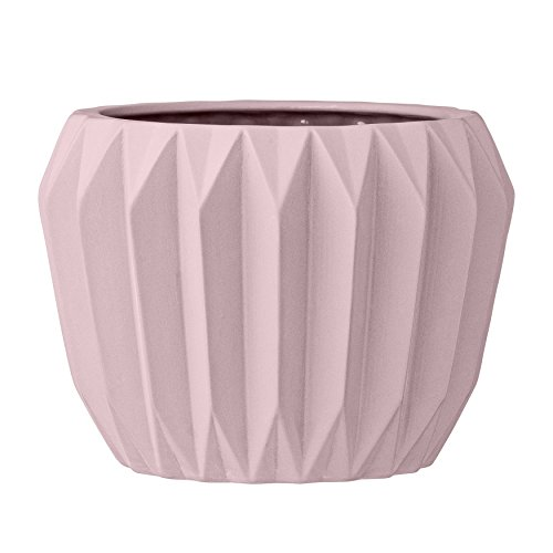 Bloomingville A21900022 Round Fluted Pink Ceramic Flower -