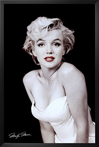Professionally Framed Marilyn Monroe Movie  Red Lips  Poster Print   24X36 With Richandframous Black Wood Frame