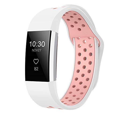 iGK Silicone Replacement Bands Compatible for Fitbit Charge 2, Adjustable Breathable Sport Strap Smartwatch Fitness Wristband with Air Holes White Pink Small