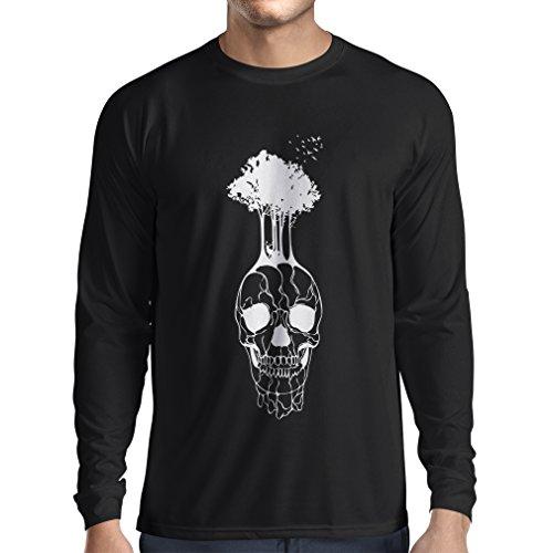 lepni.me N4341L Long Sleeve t Shirt Men The Skull and The Tree (XX-Large Black Multi Color) -