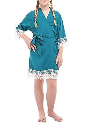 missfashion Girl's Junior Bridesmaid Rayon Cotton Lace Robe for Wedding Gift