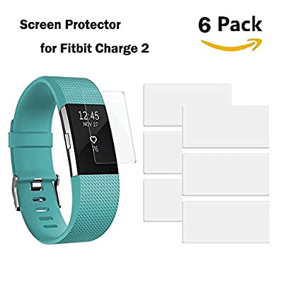 AK Fitbit Charge 2 Screen Protector, High Definition Ultra Films Clear Screen Protector for Fitbit Charge 2 Smart Watch (6-Pack)