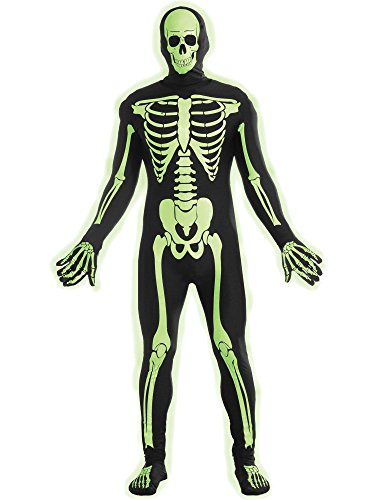 Forum Novelties Women's Teen Disappearing Man Patterned Stretch Body Suit Costume Glow-In-The-Dark Skeleton, Black/White, Small/Medium -