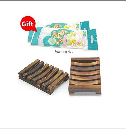 Bathroom Handmade Natural Wood Soap Shower Dish Wooden Soap Case Holder