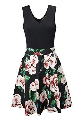 Yidarton Women's Summer Casual V Neck Flare Floral Contrast Evening Party Short Mini Dress Black S by Yidarton (Image #3)