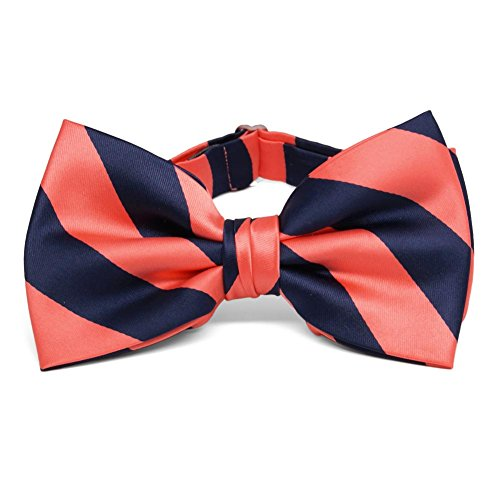 navy blue and coral bow tie - 2