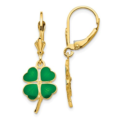 ICE CARATS 14kt Yellow Gold Enameled Clover Leverback Earrings Lever Back Earring Drop Dangle Good Luck Fine Jewelry Ideal Gifts For Women Gift Set From Heart 14kt Gold Enameled Earrings