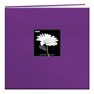 Pioneer 12-Inch by 12-Inch Book Cloth Cover Postbound Album with Window, Grape Purple