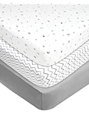 American Baby Company 3 Piece 100% Cotton Jersey Knit Fitted Crib Sheet for Standard Crib and Toddler Mattresses, Grey Star/Zigzag, for Boys and Girls