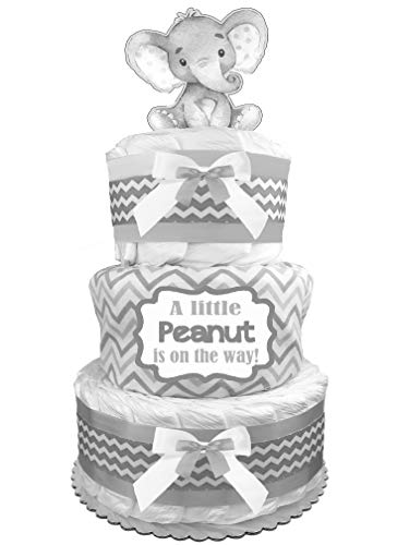 Elephant Diaper Cake - Gender Neutral Baby Shower Gift - Newborn Gift - Gray