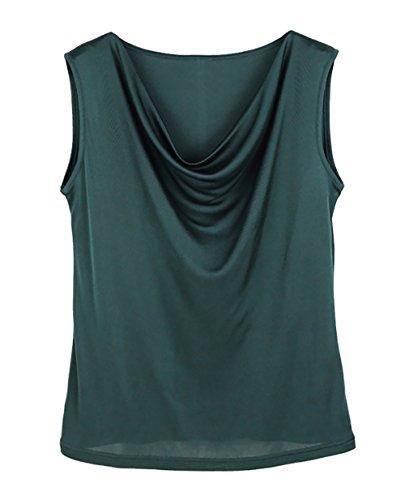 Top Silk 100% (LingDooo Women Pure Silk T Shirt Summer Tank Top Knit Fold Crew Neck Sleeveless Shirt (M(Tag XL), Dark Green))