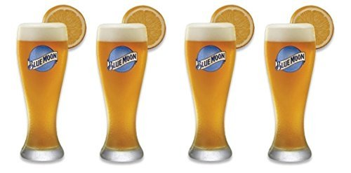 Blue Moon Glass (Set of 4 Blue Moon Signature Wheat Beer Glasses - 20 Ounce)