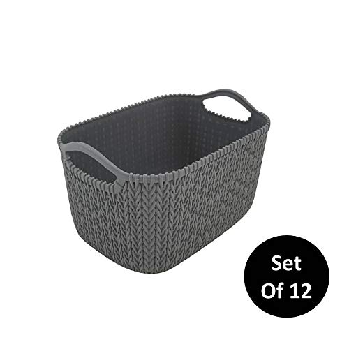 Homz Grey, Set of 12 Small Decorative Rattan Storage Bin, 12 - Basket Knit