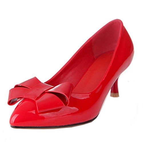 Les Femmes Coolcept Glissement De La Mode Sur Les Escarpins Talon Pompes Milieu Chaussures Avec Noeud Rouge