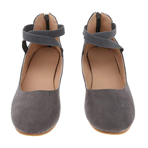 Back Baoblaze Elastic Pumps Girls Gray Shoes Straps Ankle Women Zip Stylish Ballet Cross Ballerina Dolly Flat UwBpUrqO
