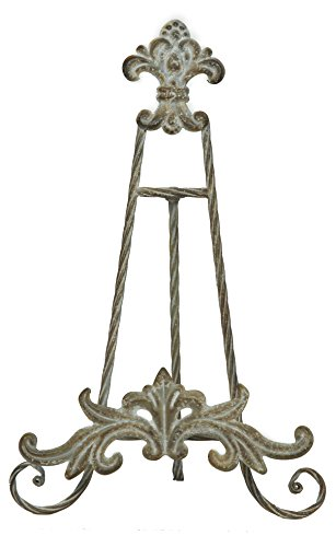 Pinnacle Frames and Accents Distressed Fleur De Lis Metal Easel Display Stand 13 Inches ()