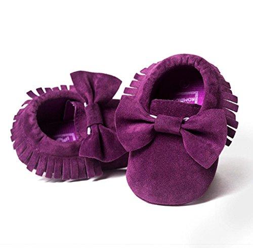 Zapatos de bebé,Tongshi Bebé Cuna de borlas zapatos ocasionales Bowknot zapatos niño zapatillas morado