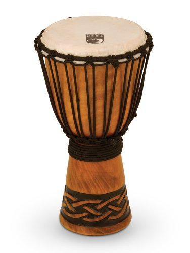 Toca TODJ-8CK Origins Series Wood Rope Tuned Wood 8-Inch Djembe - Celtic Knot Finish Toca Wood