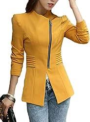 Frieed Women Blazer Lapel Solid Color Full Zip Slim Formal Work Blazer Jacket Suit Coat