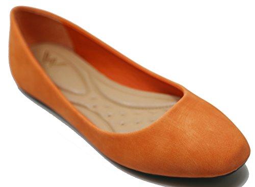 Walstar Ballerina Donna Ballerine Scarpe Solide E Glitter Arancione Chiaro