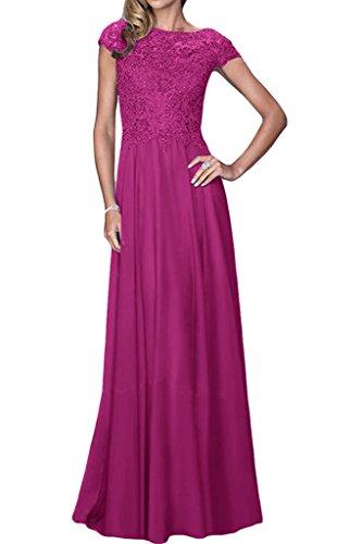 Squisito Ivydressing Donna Manica corta A-linea Chiffon & punta, Bete vestito da sera lungo party dell'abito viola 36