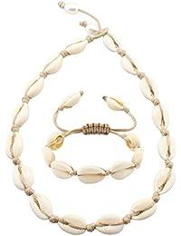 Natural Hawaii Cowrie Shell Choker Necklace - Handmade Hawaii Conch Beach Choker Necklace for Women Girls
