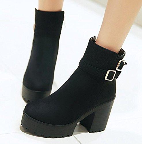 LINYI Frauen Stiefel High Heels Mode Gürtelschnalle Seitlichem Reißverschluss Runden Kopf Pumpen Black