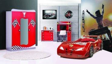 Kinderzimmer Redcar 3-tlg. rot glänzend von Möbel-Zeit