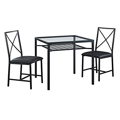 Dorel Living 3Piece Metal & Glass Dinette, (3 Piece Glass Top Table)