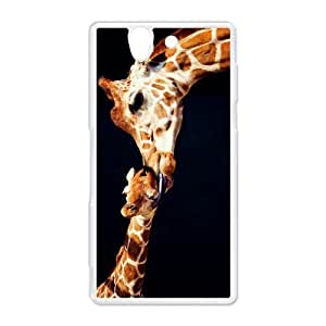Cute Giraffe Sunglasses Printed Hard Protective Plastic Back Case Cover for Sony Xperia Z Perfect as Christmas gift(4)