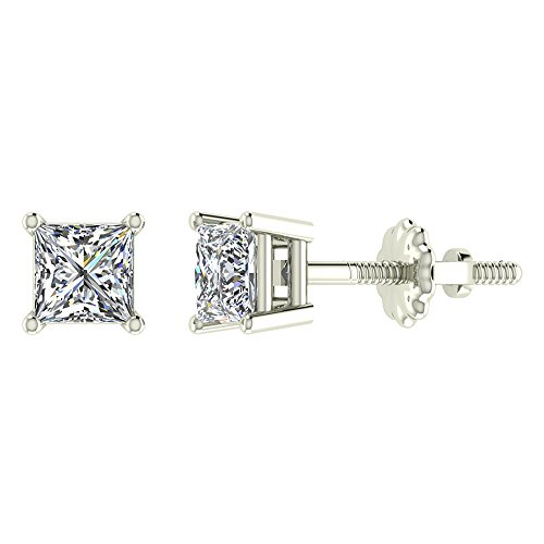Diamond Earrings Princess Cut 14K White Gold Studs 3/8 carat total weight Screw Back Posts ()