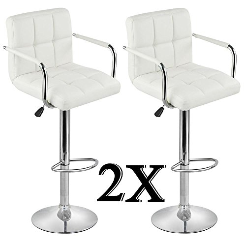 Topeakmart 2pcs Adjustable Bar Stools Breakfast Barstool with Back and Arms Leather Swivel Barstool Chairs w/Gas Lift for Home/Kitchen/Office/Bar Use,White (Bar Breakfast With Stools Backs)