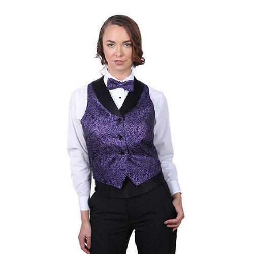 Women's Purple Metallic Tuxedo Vest with Black Lapel-Medium by SixStarUniforms