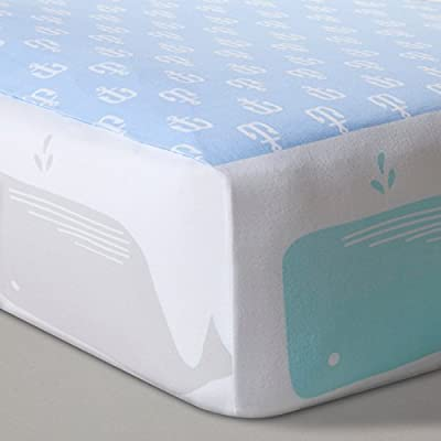 Fitted Crib Sheet Anchors and Whales - Blue Nautical