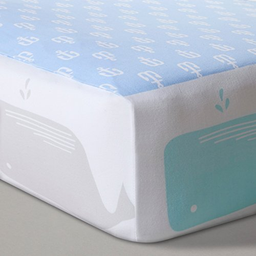 Fitted Crib Sheet Anchors and Whales - Blue (Aqua Island)