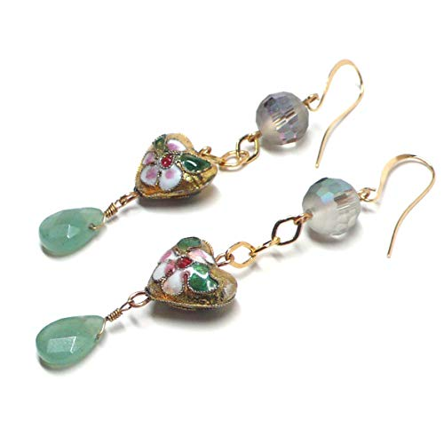 15mm Cloisonne Enamel Heart Aventurine Briolette Earrings Custom (Green Aventurine Briolette Earrings)