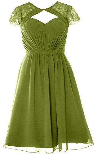 Macloth Mancherons Élégantes Fête De Mariage Courte Robe De Demoiselle D'honneur Robe Formelle Vert Olive