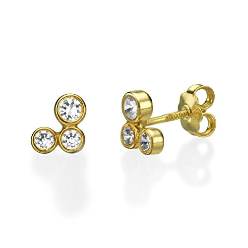 14K Yellow Gold 3 Round cubic zirconia Screwback Stud Earrings Girl Teens Hypoallergenic Jewelry by youme Gold Jewelry