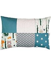 Funda de almohada para bebé de ULLENBOOM ® de 40x60 cm con bosque, verde, azul (con cremallera; apta también para cojines decorativos; dibujo:patchwork)