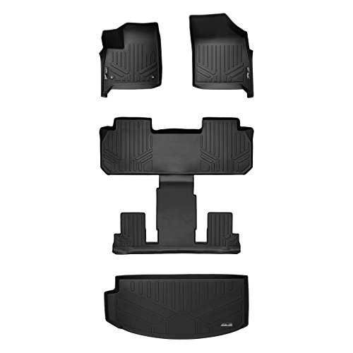 SMARTLINER Floor Mats 3 Rows and Cargo Liner Behind 3rd Row Set Black for 2018-2019 Buick Enclave with 2nd Row Bucket Seats (Best Third Row Suv 2019)