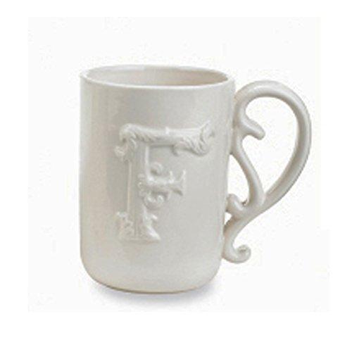 Mud Pie Flourish Initial Mug (Letter F) (Mug F Letter)