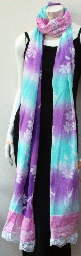100% Cotton, High Quality, Long Scarf Neck Wear Wrap Pastel Colors Patch Work, Cool Summer Accessory, Great Affordable Gift for Girls Women Ladies