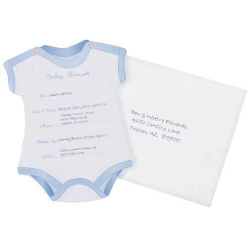 Stamp Baby Shower - Wilton Onesie Boy Fill In Baby Shower Invitations
