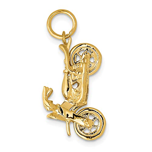 Mireval 14k Yellow Gold Motorcycle Charm (24.5 x 11.5 mm)